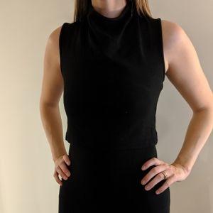 Black High Cowl Neck Mini Dress